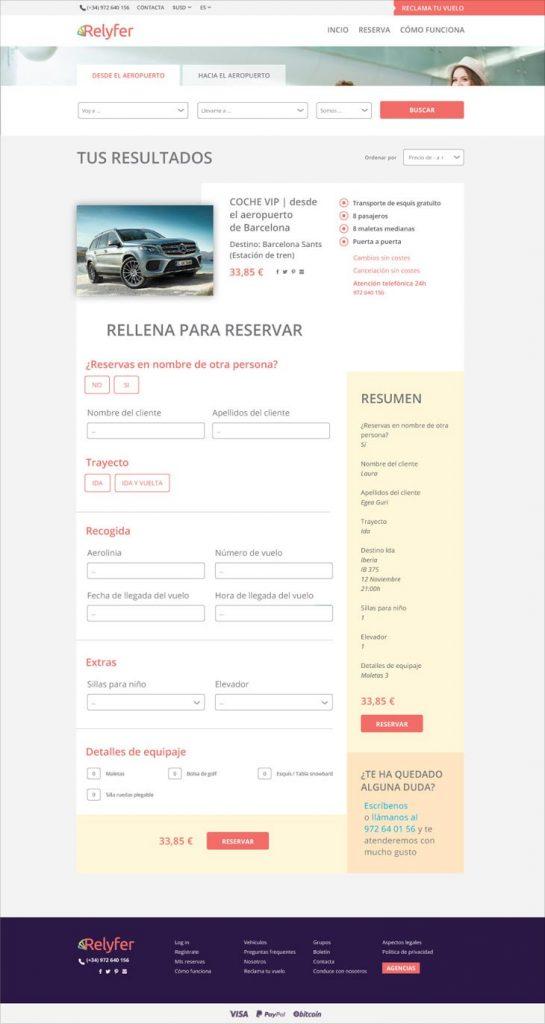 web de transfers per dones a la pàgina reservar