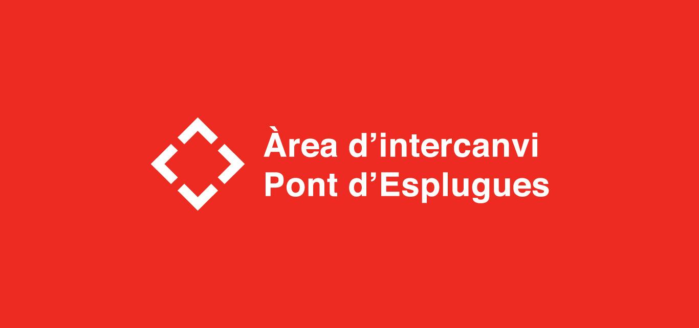 logo de l'àrea d'intercanvi del bus a la ciutat en color blanc i vermell