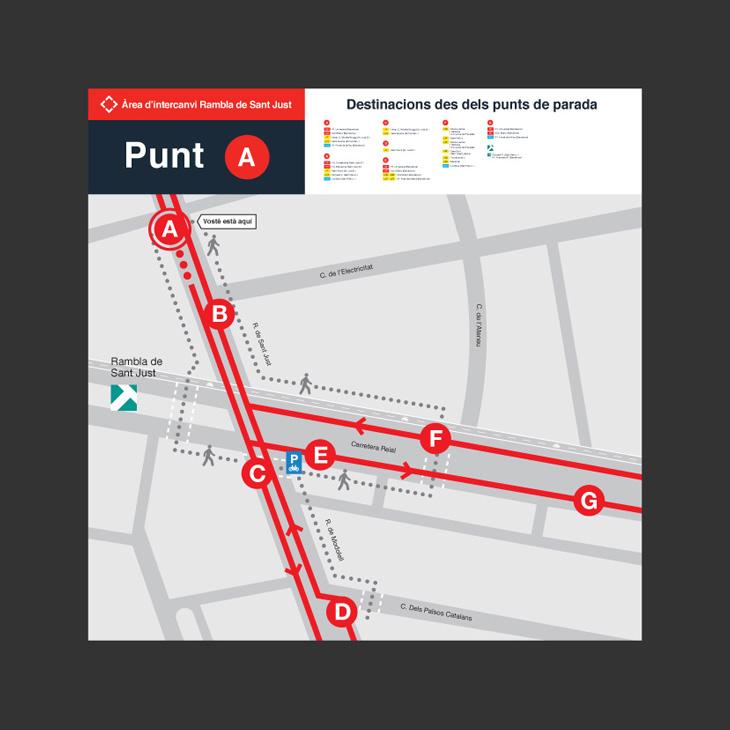 Mapa de senyalització de bus a la ciutat quadrat amb logo, punt i llegenda