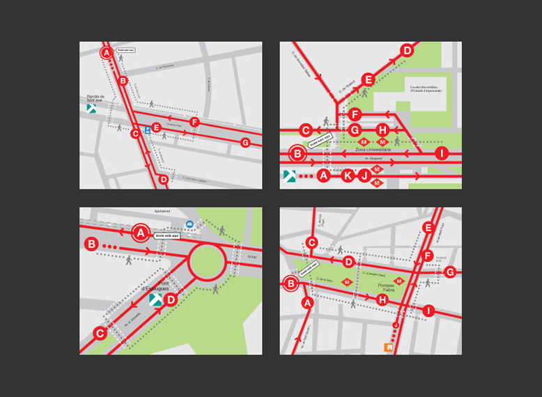 Mapes de senyalització de bus a la ciutat quadrat amb logo, punt i llegenda