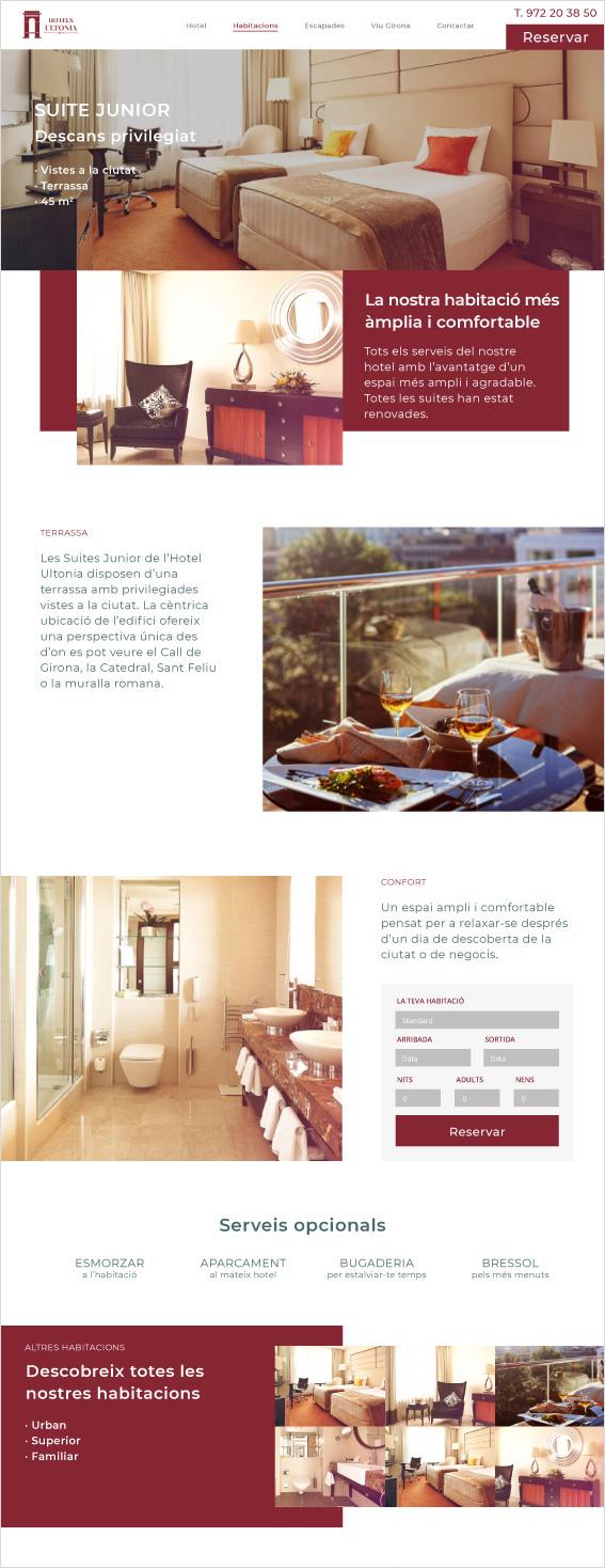 web d'hotel a la pàgina de reserva d'habitacions atractives i de luxe