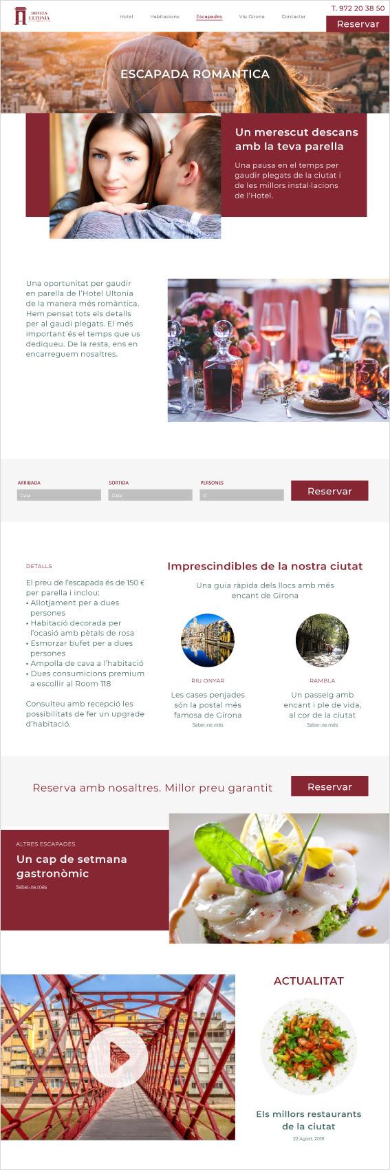 web d'hotel a la pàgina de promocions per parelles romàntiques amb guia i actualitat