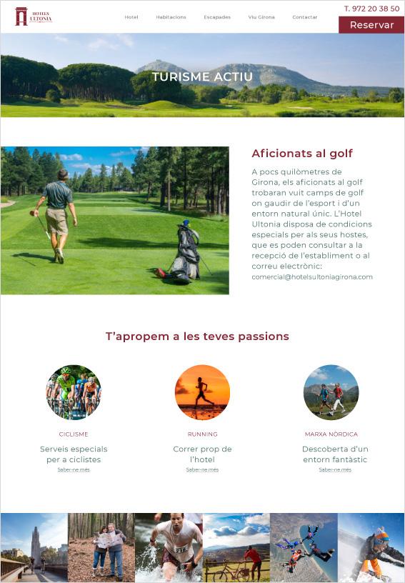 web d'hotel a la pàgina de turisme actiu de golf, ciclisme running i marxa nòrdica