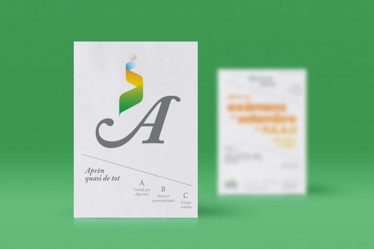 disseny de publicitat per acadèmia d'estudis minimalista, moderna blanca i verda