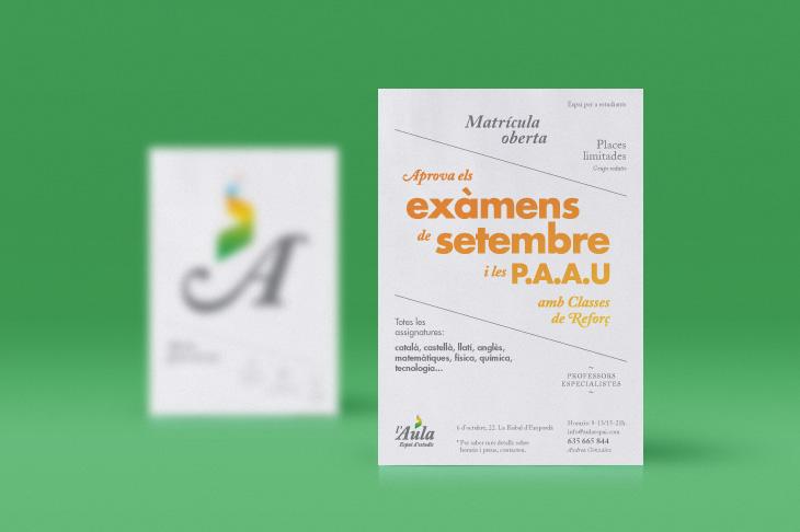 disseny de publicitat per acadèmia d'estudis en postals i fons verd
