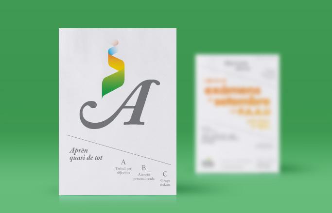 disseny de publicitat per acadèmia-d'estudis-de potals en fons verd