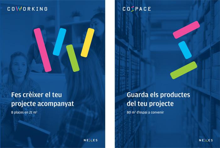 posters per viver d'empreses i coworking amb inicial de color moderna i fons blau