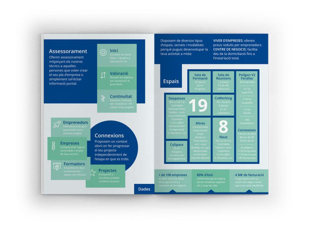 catàleg per viver d'empreses i coworking amb grafics i informació minimalista de color verd i blau