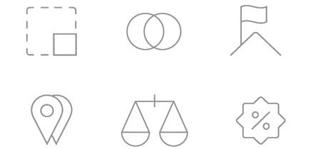 pictogrames per viver d'empreses i coworking-sintètics, fins i grisos