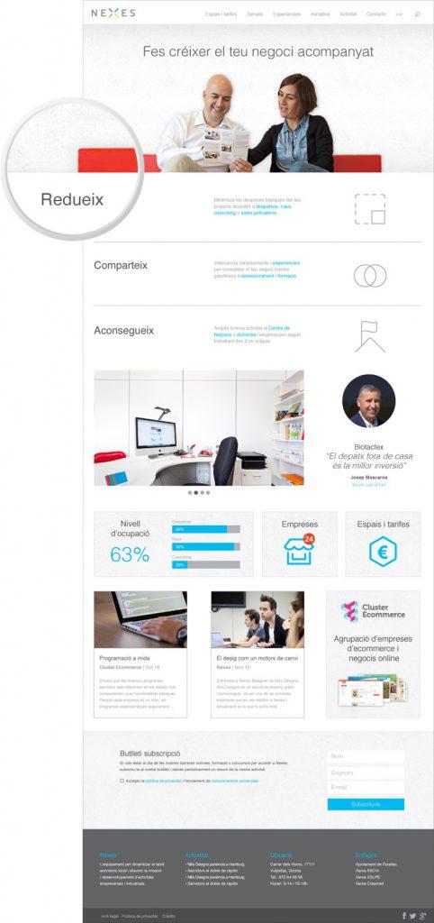 web de viver d'empreses i coworking home moderna i minimalista
