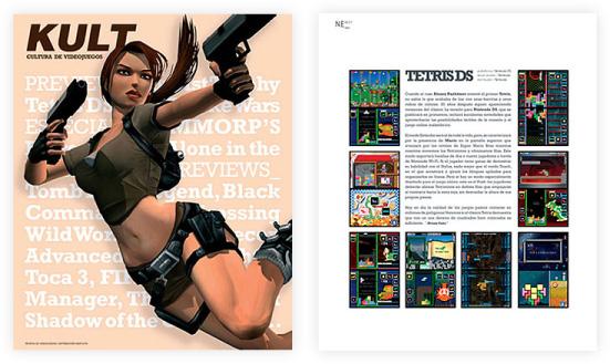 portada de revista de videojocs amb Lara Croft disparant i tetris