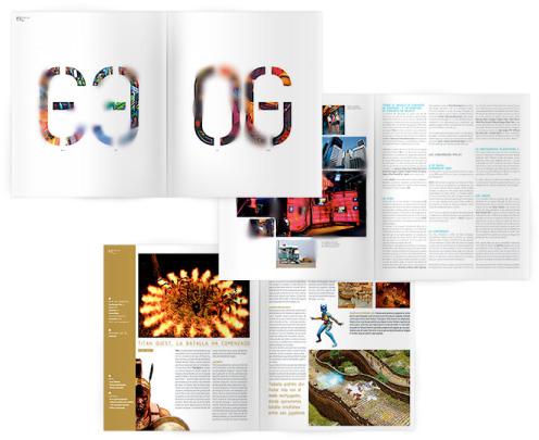 revista de videojocs amb reportge de disseny modern i minimal