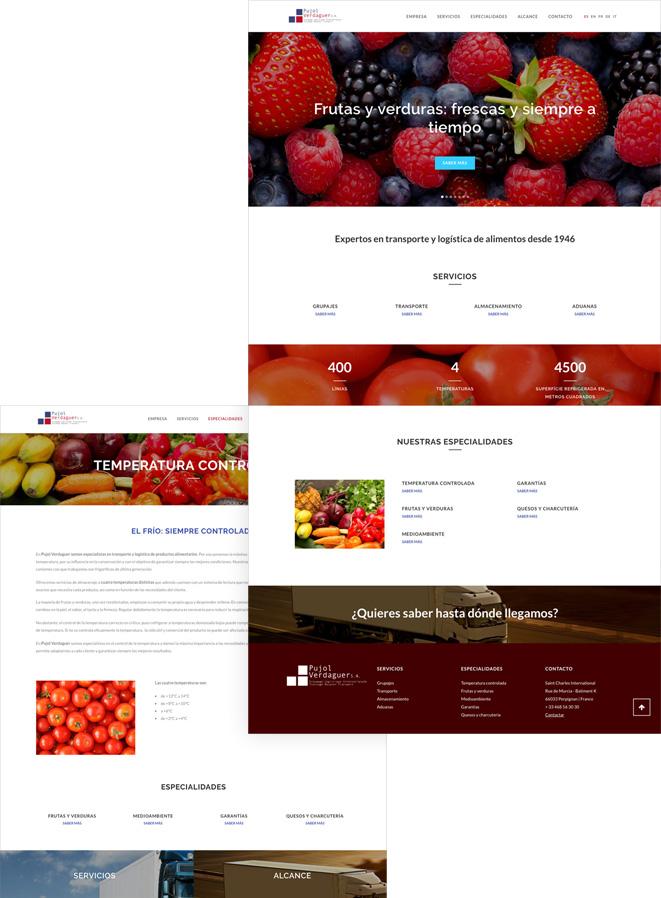 web de logística pàgines interiors moderna i minimalista