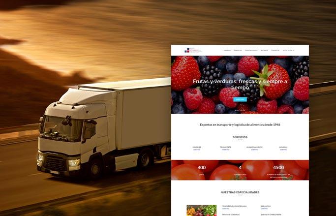 web de logística alimentària moderna i minimalista