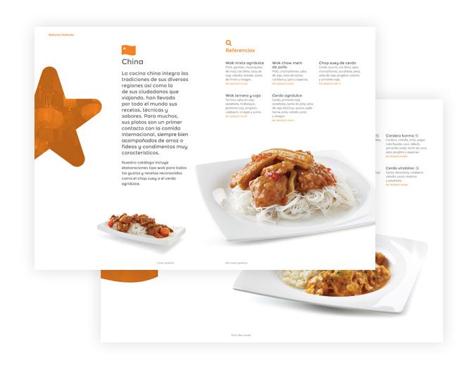 catàleg de serveis de restauració obert en dos pàgines amb plat de cuina xinesa
