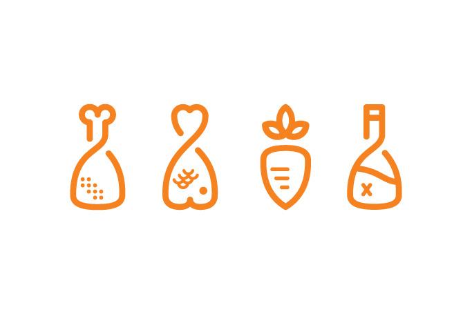 pictogrames de serveis de restauració de carn, peix, vegeterians i salses