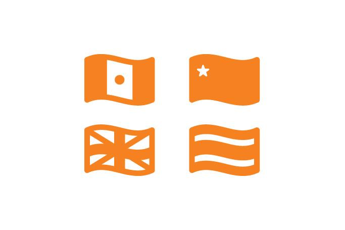 pictogrames de serveis de restauració en banderes d'Índia, Xina, Anglaterra i Tailàndia