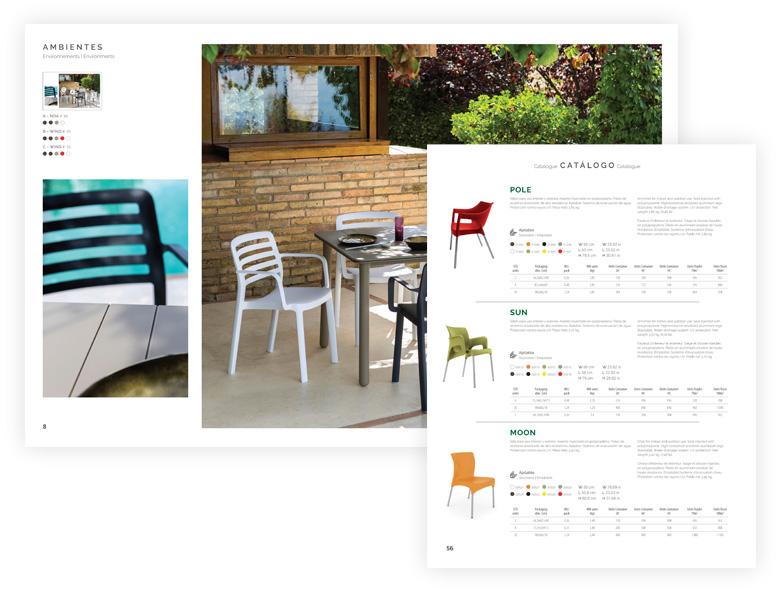 catàleg de mobles obert amb cadires i terrassa
