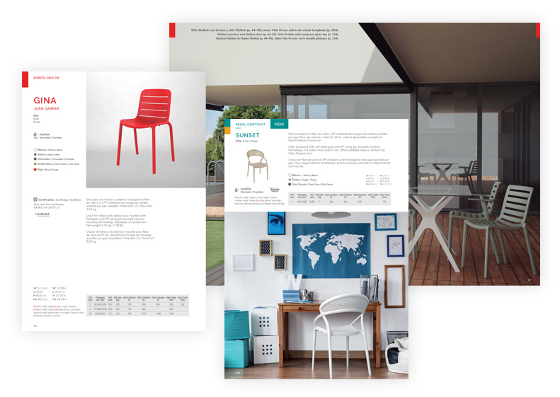 catàleg de mobles de cadires en habitació i terrassa