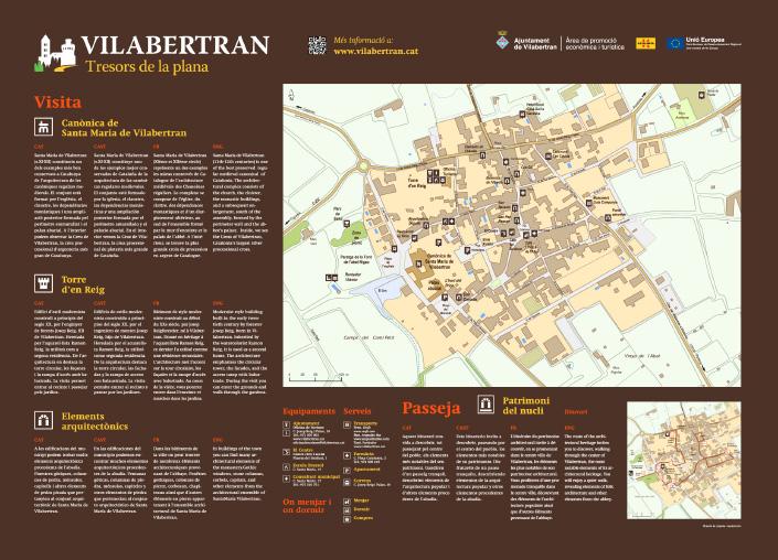 disseny de senyalització de patrimoni amb panell explicatiu de pictogrames i mapes
