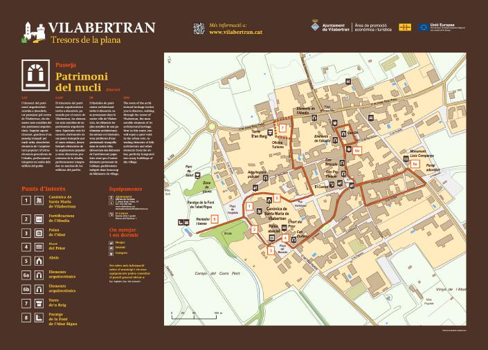 disseny de senyalització de patrimoni del nucli amb panell explicatiu de mapa amb pictogrames de punts d'interés