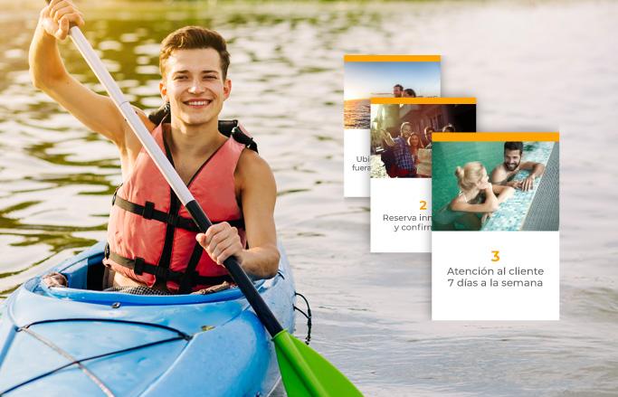 web d'oci amb producte i noi guapo amb kayak