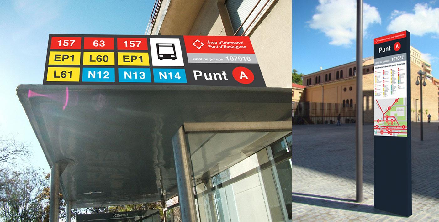 senyalització de bus a la ciutat sobre marquesina i totem